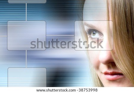 technology woman - stock photo