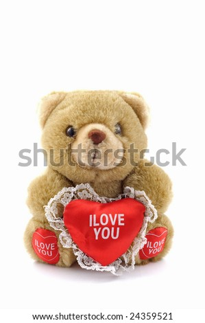 "Teddy and big red heart with text ""I Love You"""