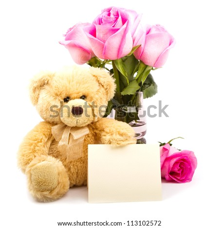 Teddy Bear and flowers - stock photo
