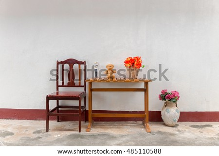 Teddy Bear And Flowers With Vintage Furniture