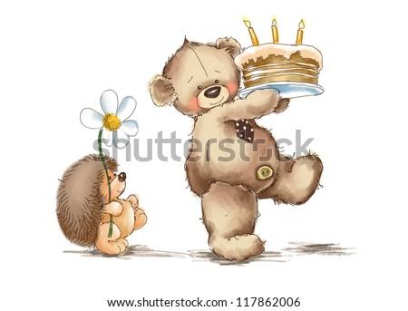 Teddy bear and hedgehog. Birthday cake. - stock photo
