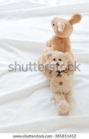 teddy bear and kangaroo ( good feeling ) - stock photo