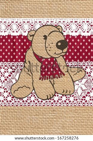 Teddy Bear, Christmas decoration, card - stock photo