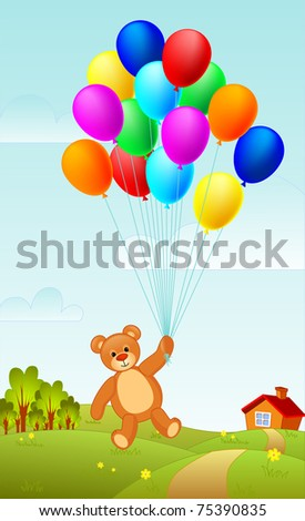 Teddy bear flying on a group of balloons raster
