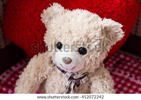 Teddy bear happy sit in room,Love
