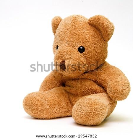 Teddy bear on a white background - stock photo