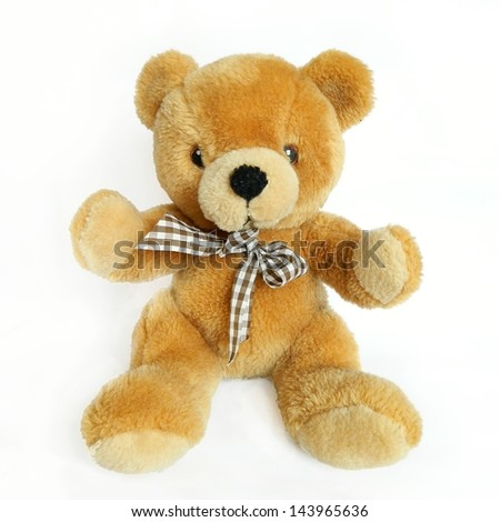 teddy bear on a white background with clipping path - stock photo
