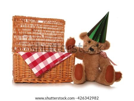teddy bear picnic party cutout - stock photo