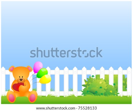 Teddy bear sitting in the grass near the fence with balloons and a heart