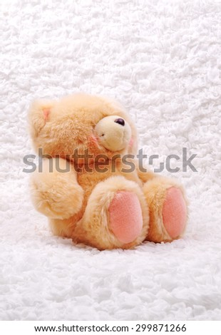 Teddy bear Sitting on the white cloth - stock photo