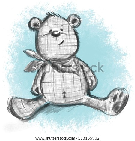 teddy bear sketch on blue background - stock photo