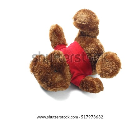 Teddy Bear Soft Toy Lying on White Background