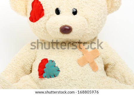 Teddy bear that has hurt the patch on the chest 2