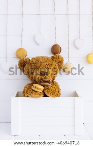 Teddy Bear toy alone on wood  background - stock photo