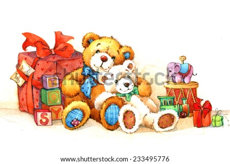 Teddy bear. Toy for celebration  festival. watercolor - stock photo