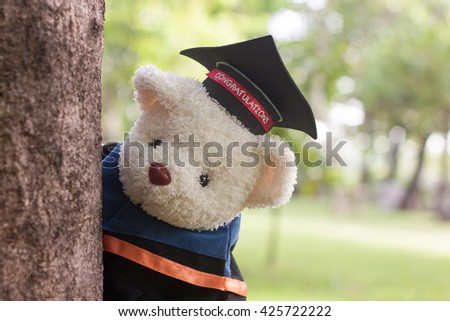 Teddy bear wear gown stand behind the tree with park background - stock photo