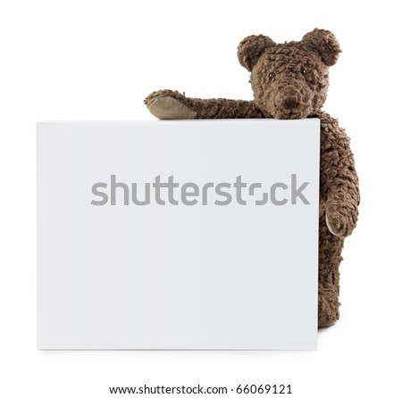 Teddy bear with blank note isolated on white background - stock photo