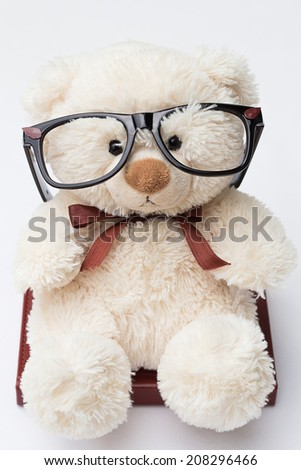 Teddy Bear with Glasses Sitting on a Book - stock photo