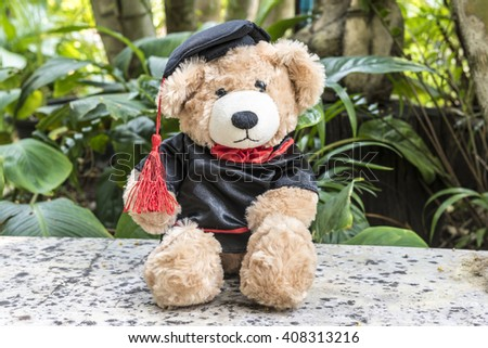 teddy bear with graduation gown on garden background, congratulations concept - stock photo
