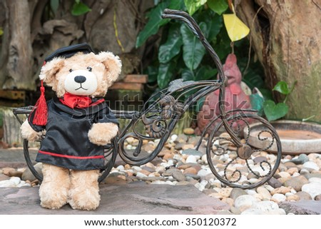 teddy bear with graduation gown on garden background, with space - stock photo