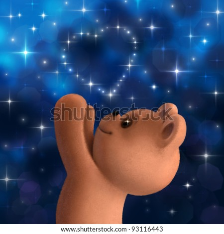 Teddy bear with heart from stars on night sky - stock photo