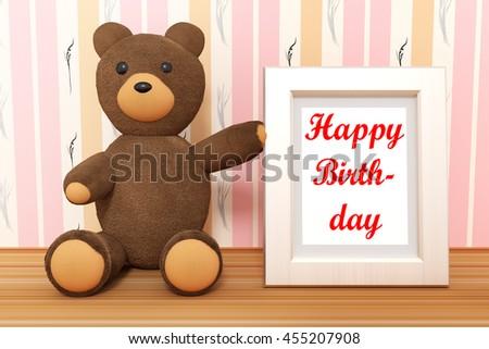 Teddy Bear Photo Frame Happy Birthday Stock Illustration 455207908 ...