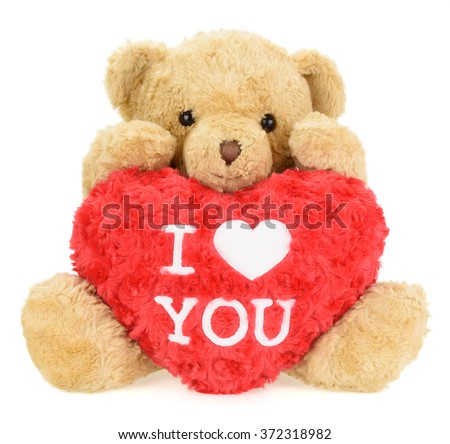 Teddy bear with red heart. Valentine's Day - stock photo