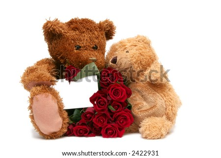 Teddy bear with red roses on a white background