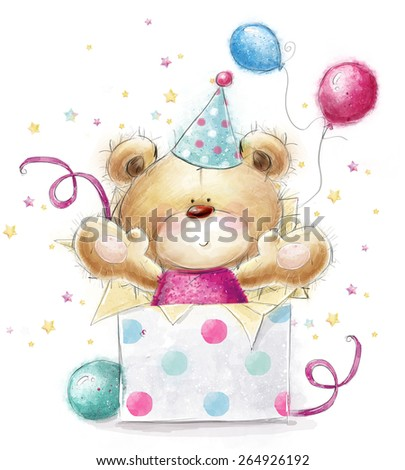 Teddy bear with the gift.Childish illustration in sweet colors.Background with bear and gifts and balloons. Hand drawn teddy bear isolated on white background. Happy Birthday card - stock photo