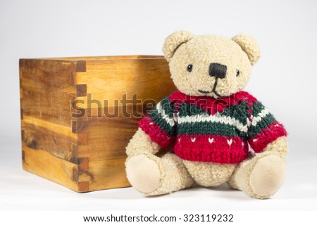 Teddy bear with wool coat, on white background
