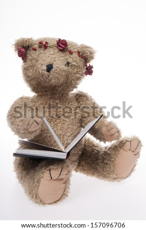 Teddy bear writing in book isolated on white