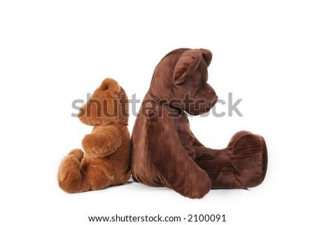 Teddy bears back to back - stock photo