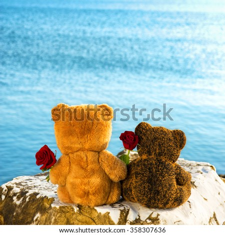 Teddy bears couple in love by the sea for Valentine's day - stock photo