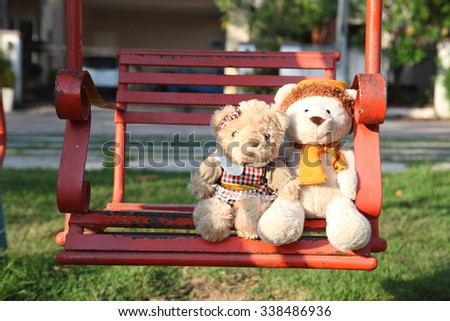 Teddy bears sitting  with love. Concept about love and relationship - stock photo