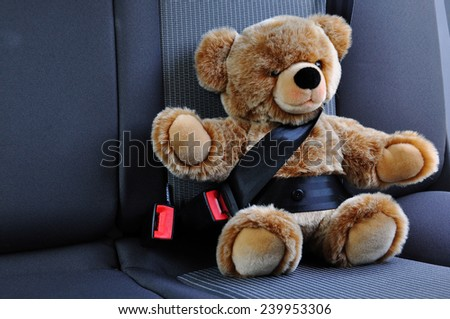 Teddy belted in the car - stock photo