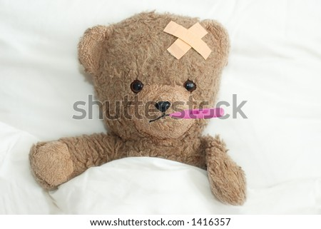 Teddy in hospital - stock photo