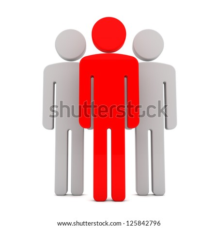 Teem of Three Human Figures Standing Together on the White Background - stock photo