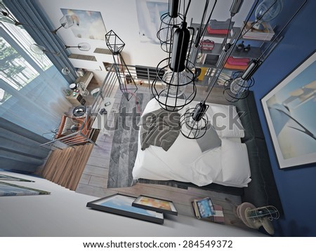 Teen bedroom modern style. 3d render