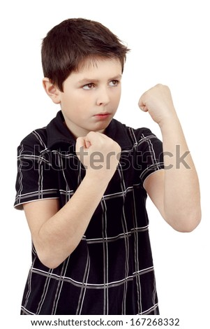 teen boy boxer trains defence isilated on white - stock photo