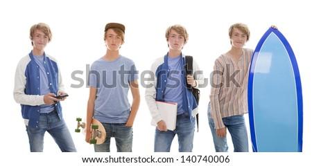 teen boy pastimes school, skateboard, phone , surfboard. - stock photo