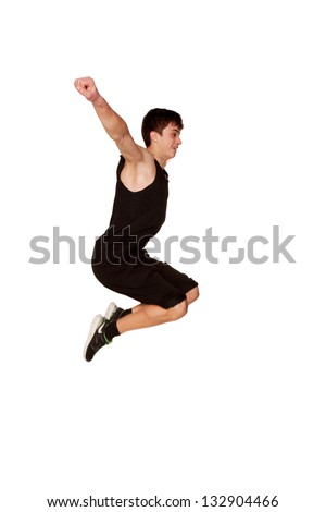 Teen boy playing sports,  jumping in the air. Isolated on white background