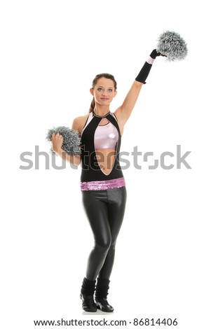 Teen cheerleader isolated on white background