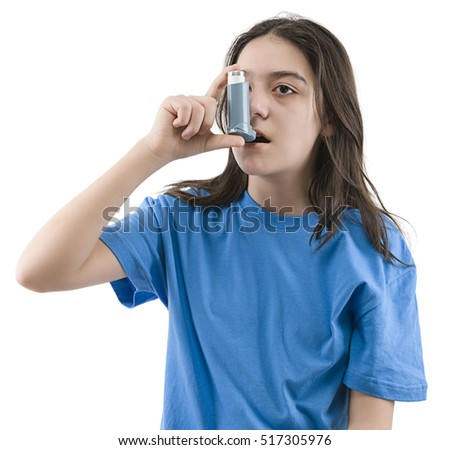 Teen girl applying oxygen treatment on herself isolated on white background.