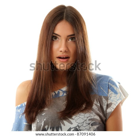 teen girl attractive surprised make faces isolated on white background - stock photo