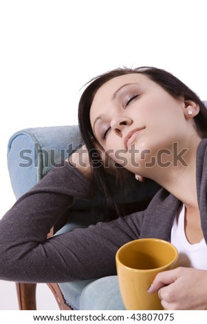 Teen Girl Fell Asleep while Reading a Book - stock photo