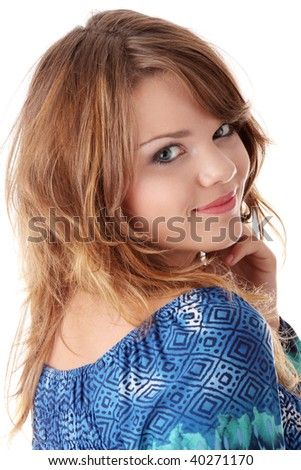 Teen girl in blue dress isolated on white background