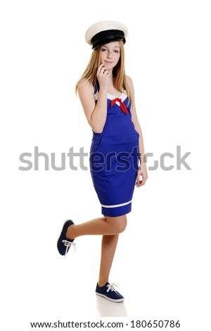 teen girl in sailor suit