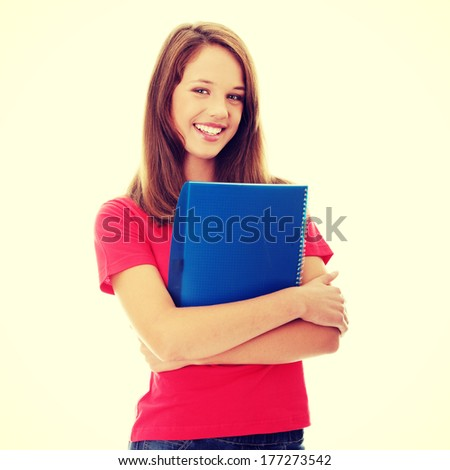 Teen girl isoalted on white background