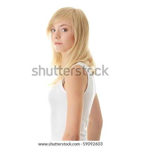 Teen girl isolated on white background - stock photo