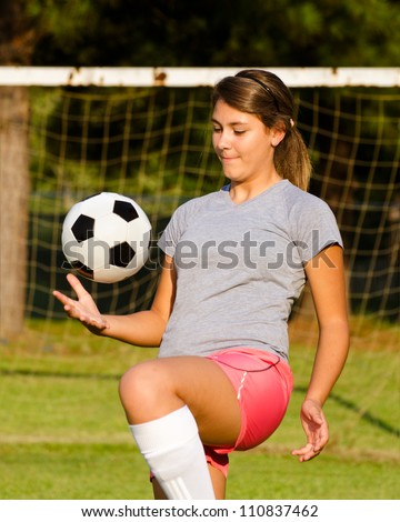 Cute teen soccer players